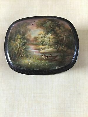 SIGNED RUSSIAN LACQUERED BOX - VINTAGE -