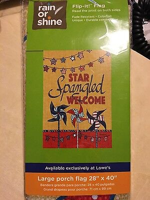 """Rain or Shine Outdoor Large """"Welcome"""" Star Spangled Porch Art Flag 28x40"""" New"""