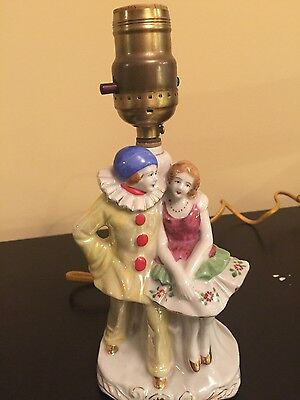 """vintage  poreclain lamp Japan clown and lady figurines hand painted  9"""" works"""