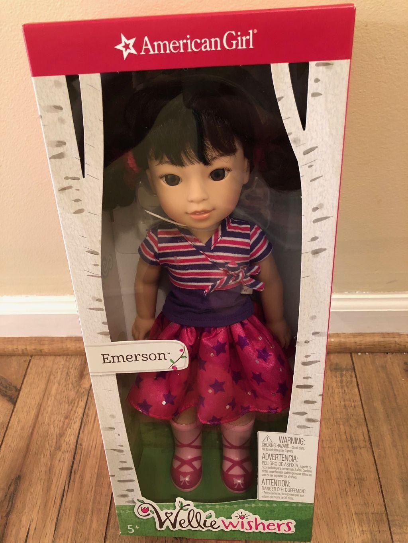 "AMERICAN GIRL WELLIE WISHERS EMERSON Doll 14.5 "" Inch NEW"