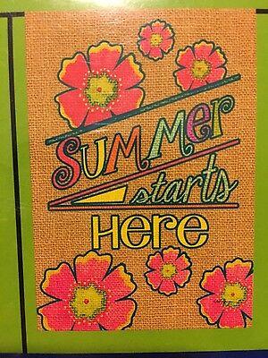 "Small Garden Flag ""Summer starts here"" 12.5"" x 18"" - Rain or Shine NEW"