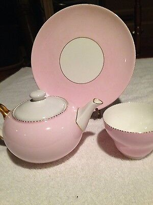 Vintage Wedgewood Bone  China Made in England, Pink With Gold Rim, Dinnerplate ,