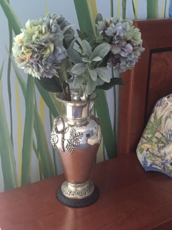 """Antique silver plated 18"""" vase urn very large 2 handles - grape foliage adorned"""
