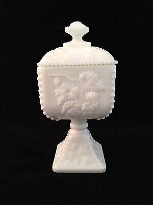 Vintage Westmoreland Milk Glass Pedestal Candy Dish Grape Pattern