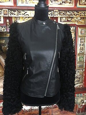 Rare Alexander McQueen NWT Black Leather Motorcyle Jacket  with Lamb Fur Sleeves