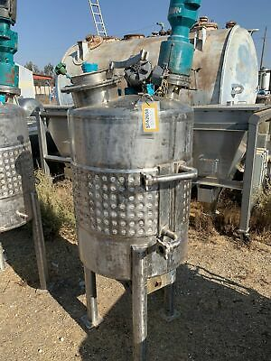 100 Gallon Stainless Steel Tank Jacketed Agitated 28 X 32 Dish Top And Dom