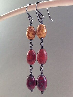 Vintage Oval Reds & Yellow Agate Glass Oxidized Sterling Silver Drop Earrings
