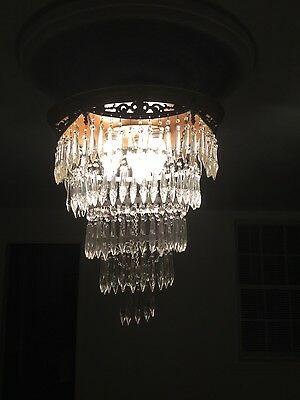BEAUTIFUL 5 Tier Antique Crystal Cake Chandelier