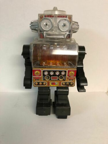 Vintage Japanese Horikawa Piston Robot, Clear Body, Gold Version, Works Fine