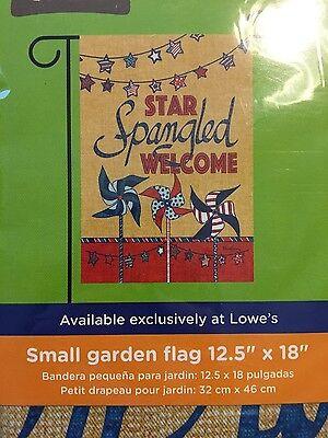 "Small Garden Flag ""Star Spangled Welcome""  12.5"" x 18""  - Rain or Shine Flip It"