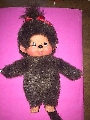 Monchhichi Plush Monkey Doll Red Hair Bow / No Bib