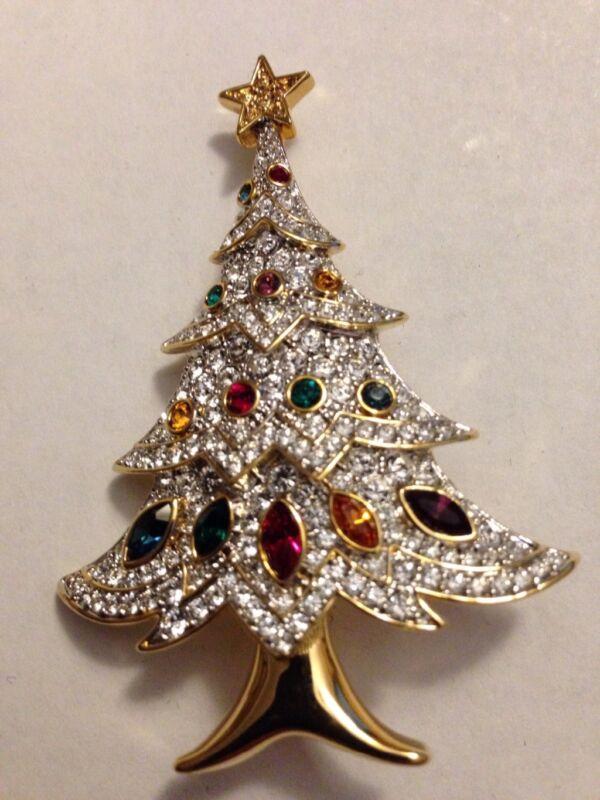 Swarovski Elegant Christmas Tree Pin Brooch Signed - GORGEOUS! - New