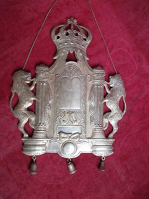 antike große 925 Silver Torah Shield Tass Silber Tora Platte