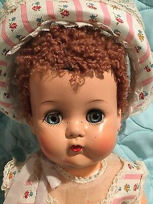 VINTAGE IDEAL BETSY WETSY W/CARACUL HAIR & MATCHING DRESS & BONNET