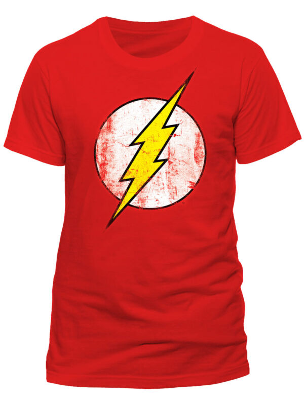 Official DC Comics Flash Logo T-Shirt Big Bang Theory Sheldon Cooper Distressed