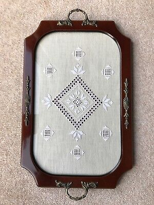 Vintage Wooden Tea Serving Tray Glass Top with Tapestry Inlaid