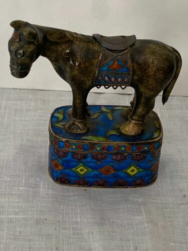 Chinese Box Marked SILVER Champleve Cloisonne Horse Form Enamel