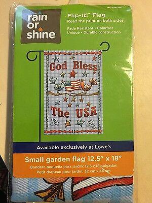 "GOD BLESS THE USA SM GARDEN FLAG 12.5"" X 18"" SEASONAL 27-2792-110 FLIP IT!"