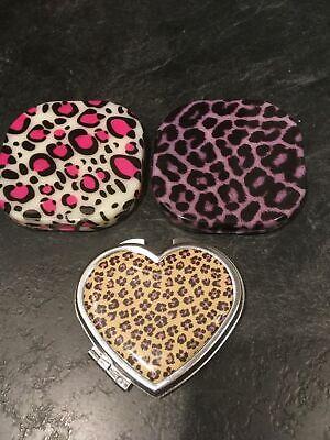 Pink Leopard Purple Leopard Cheetah Heart Compact Double Mirror Lot of 3  Purple Compact Mirror