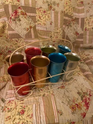 8 Multicolor Hammered Aluminum Drink Set CUPS with Metal Tray Holder Vintage