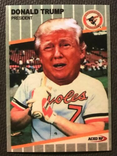 DONALD TRUMP BASEBALL CARD - PARODY OF 1989 FLEER BILLY RIPKEN FF CARD