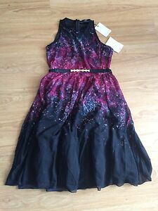 Little Mistress Black With Red Print Ladies Dress~ size 16