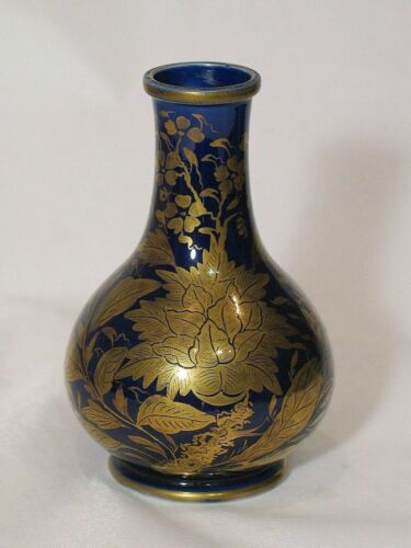Antique Masons Ironstone Vase — Cobalt Blue – Gilt Leaf and Decoration