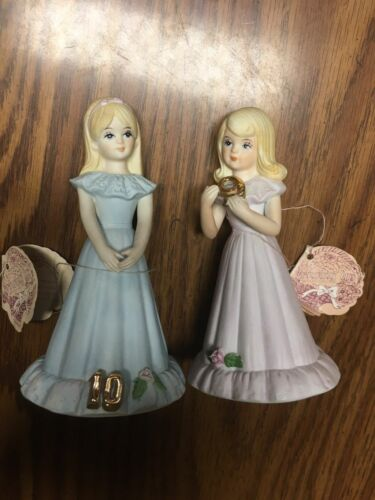 Growing Up Birthday Girls Blond 1981 Enesco figurines Ages 9 & 10 W/tags