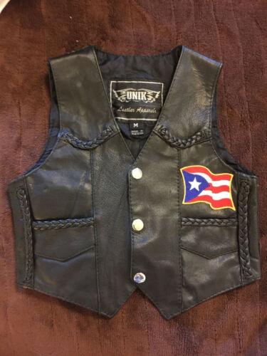 Vtg  UNIK Punk Moto Black Leather Sleeveless Jacket Vest Kids Childrens Sz M