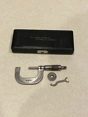 Vintage Brown Sharpe 1 To 2 Micrometer 48 With Case Tool And 0 Gage