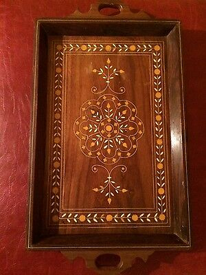 Vintage Hand Carved Wood Tray Art Deco Serving Tray India Pakistan