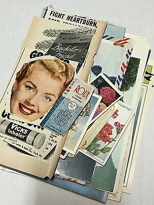 Ephemera Lot Mixed Postcards Linen Cigarette Cards Greetings Photos Vintage Ads