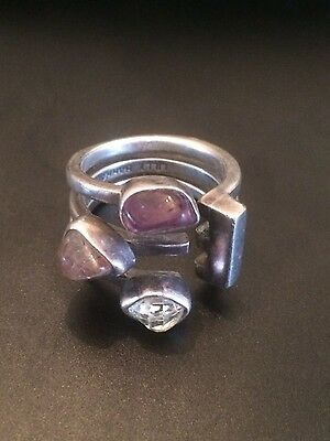 LILLY BARRACK sterling hand made ring with raw amethyst