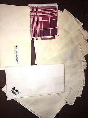 Vintage Pack Of Hankies - Pack Of 11 Cloth Handkerchiefs