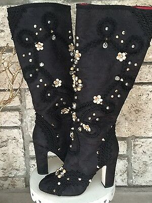 New DOLCE & GABBANA Black Jeweled & Studded Satin Knee-High Boots 39