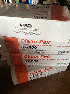 Rainin Clean-pak Rt-200 Disposable Microliter Pipette Tips In Protective Racks