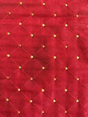 RED FAUX SILK FABRIC DIAMOND DESIGN AND DOTS FOR DRAPES VALANCE PILLOWS 2yd 16