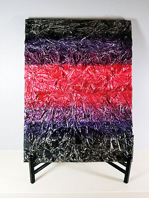 Red, Purple & Black Textured Tissue Paper Mixed Media Art Wall Decor 12x18