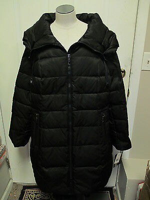 Portrait Down Quilted Coat with Large Drawstring Collar 1X Black NWT (Portrait Collar Coat)