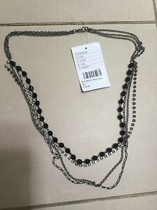 Urban outfitters gunmetal grey tone chain diamanté and bead necklace flapper cos