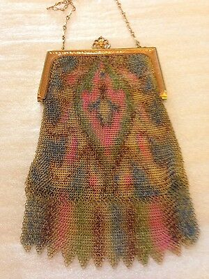 ANTIQUE WHITING & DAVIS MESH PURSE WITH MIRROR
