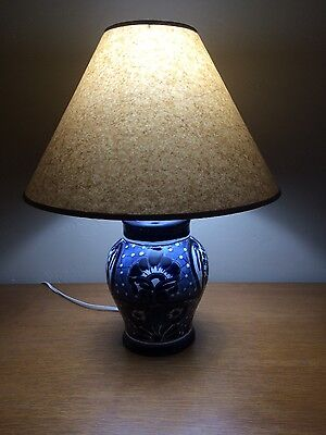 Pair of Talavera Table Lamps Blue and White ()