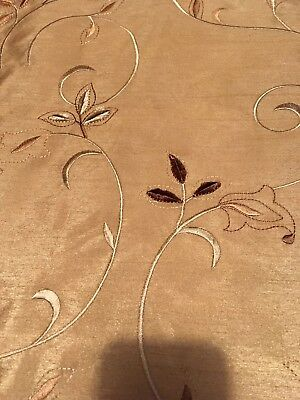 DRAPERY FAUX DUPIONI SILK FABRIC GOLD SCROLL EMBROIDERED VELVET LEAVES 2.75yd