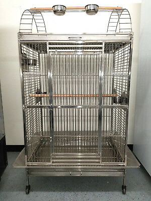 New 304 Stainless Steel Indoor / Outdoor Parrot Macaw Bird Cage w/ Play Stand