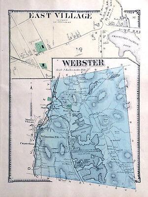 MAP 1870 WEBSTER EAST VILLAGE MASSACHUSETTS ORIGINAL 1870 ANTIQUE COLOR BEERS