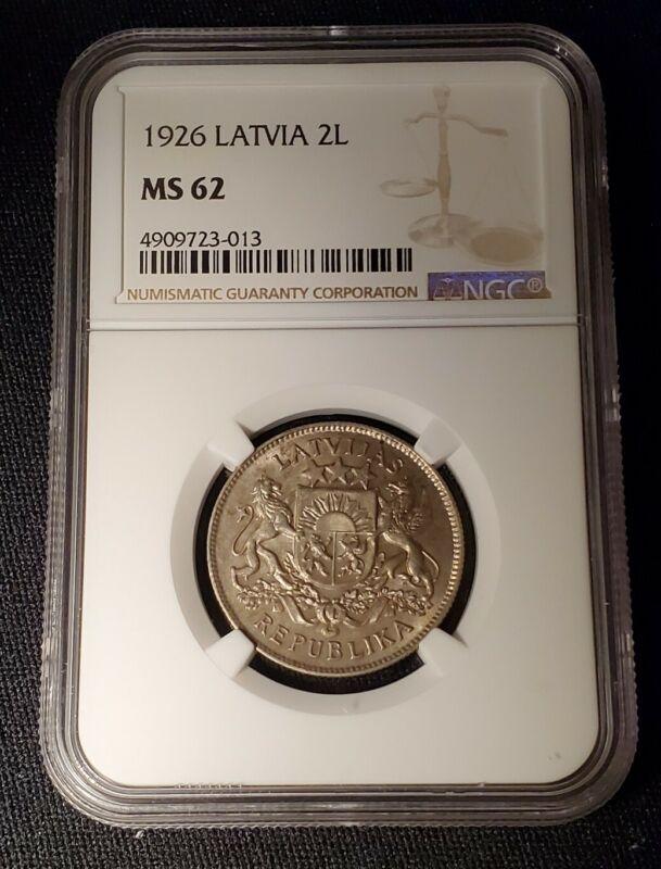 1926 Latvia 2 Lati NGC MS62