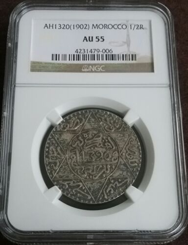 Lovely! MOROCCO AH1320 (1902) Silver 1/2 RIAL Slabbed Certified Graded NGC AU55