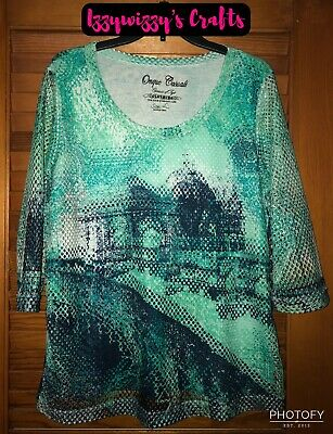 Onque Casuals Elements of Style Blue White Fish Net Overlay City Scene Sz L