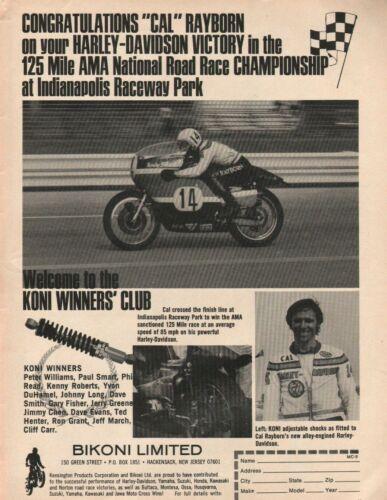 1972 Cal Rayborn / Harley-Davidson - Indianapolis / KONI - Vintage Motorcycle Ad