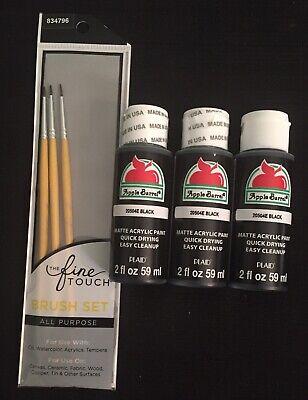 Lot 3 PLAID Apple Barrel Matte Acrylic Craft Paint Black Tan 6 fl.oz. + Brushes